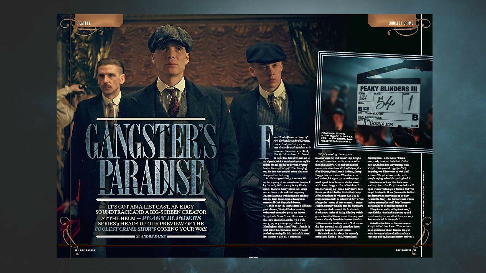 أول صفحتين من تقرير مجلة Crime Scene حول الموسم الثالث